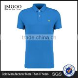 MGOO Fashion Blue Logo Brand Polo Shirts 240g 100% Cotton Plain Dyed Fabric For Shirts