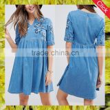 Fashion wholesale summer custom comfortable maternity dress with embroidery design maternity clothing women denim dress