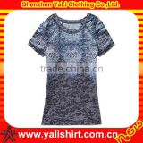custom burnout new pattern slim cut pleat sleeves unique design women t shirt
