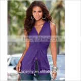 Hot Women Custom Purple Lace Line Elongated Outfit Tops Cotton Spandex Camisole