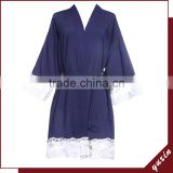 Navy blue Sexy short sleeve lace women cotton robe with lace LR0113