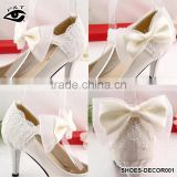White Lace Bow Flower for wedding shoe clips Decoration Ornament with Metal Clip Shoe Charms