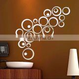 Wholesale Circles Room Decoration Acrylic Removable Mirror Wall Sticker Home Decoration