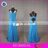 CE770 2015 Fashion Sexy Spaghetti Strap Beaded Backless Chiffon Cheap Evening Gown
