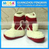 Crochet Baby Girl 0-2 Years Boots ,Cowgirl Winter Boots Handmade Wine Red and Cream