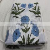 2.5 yards Indigo Dye Fabric Cotton fabric hand block printed Flower Print fabric