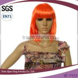 cheap short straight orange color bob style synthetic party wigs
