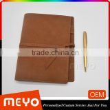Vintage leather cover notebook and golden twist ball pen gift set with logo