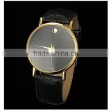 High quality Simple watch Women's Men's Minimalism leather band Wrist Watch
