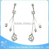 Wholesale medical steel hanging long chain belly ring body piercing jewellery