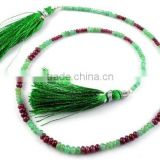 "1 Strand Natural Emerald And Ruby 5mm-2mm Smooth Rondelle Drilled 15"" Long Jewelry and Necklace Making Beads,Beaded Neck"