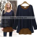 2014 the most popular European and American style fully elegant cotton/woolen fabric compater knitted ladies sweater