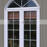 PVC casement window with arch,white PVC inward window with grid