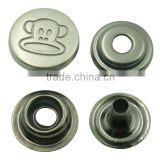Custom zinc alloy 15mm round shape monkey logo plating technics metal snap button                                                                         Quality Choice