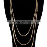 Antique Gold Color Triple Three Layers Simple Chain Necklace