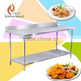 Heavy duty stainless steel commercial kitchen worktable work bench with backsplash 2015 hot sale