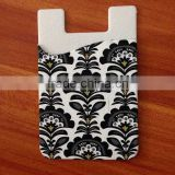 2015 hot full printed 3M adhesive silicone card holder, full printed mobile phone silione card pocket