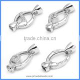 White Gold Plated Sterling Silver DIY Connector Link Charm Spring Clasps With End Caps Fit Pearl Gemstone Jewelry SC-CZ044