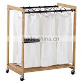 3-Bag Bamboo laundry hamper trolley hot sale laundry hamper besket wholesale