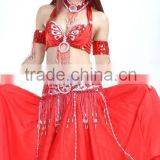 SWEGAL 2013 2colors yellow and red fashion sex belly dance bra top and belt skirts 3pcs costume