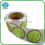 Fancy custom printing plastic roll label for household product, vinyl waterproof sticker, adhesive roll sticker