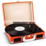 Hot sale sheap item Antique Imitation Style Multi-functions Suitcase Turntable Record Player with USB Recording