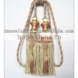 double tassel tiebacks with beads, small tassels, bullion fringe