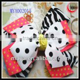 dot&animal zebra print ribbon baby hair bow clip girls barrette