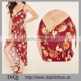 Wholesale Gorgeous Women Clothing Floral Print Wrap Dress With Adjustable Spaghetti Straps, Self-Tying Laces In Front Dress