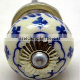 Ceramic Drawer Pull Knobs with Metal Fittings - Blue Pottery
