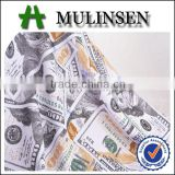 Mulinsen textile weft dollar pattern knitted polyester terry fabric, printed wholesale french fabric