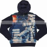 Custom made Navy Blue Pullover Sublimation Printed Polyester Fleece Hoody at MEGA