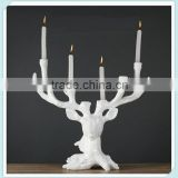 resin white deer antler tall candle holder with deer horn candle holder