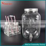 Water Dispenser With Lid And Faucet Drinking Glass Mason Jar With Handles Straw And Basket Set