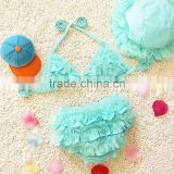2016 New ruffle two pieces baby girl bathing suit for summer girl swimming suit wholesale swimming wear bikini