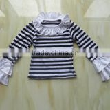 girl t shirt wholesale china Girls striped White Black shirt Cotton Long Sleeve T Shirts flutter sleeve cuff shirt YW-0021