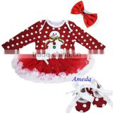 Xmas Baby Red Polka Dots White Ruffles Snow Man Long Sleeves Bodysuit Pettiskirt and Headband Crib Shoes NB-18M