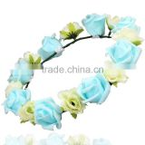 Handmade Contrast Color Flower Headband Garland Forehead Wreath Photo Props