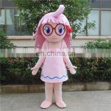 Factory direct sale customized smile girl mascot costume for adults