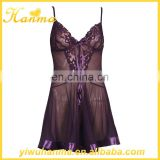 Hot sexy transparent babydolls bedroom night wear purple lingerie