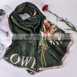 Brand new Peony flower printed silk scarves beach sarong lady air-conditioners shawl wholesale