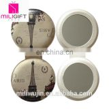 personalized Round leather double sides pocket mirror