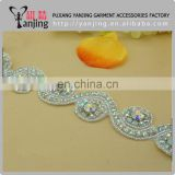 Professional Factory White Beaded Lace Trim Rhinestone Lace Trim For Wedding Bridal Belt Dress