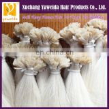 High quality products remy flat tip hair white color 60# human remy hair extension