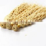 Fashion deep curly blonde color human hair extensions cheap remy brazilian hair fast delivery