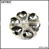 Shiny clear love flower shape rhinestone button for garments accessories for decoration
