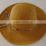 Lady's floppy straw beach hat with ribbon fancy ladies summer paper straw factory supply