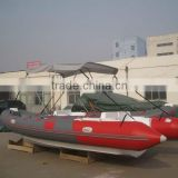 Hot selling PVC/HYPALON rescue boat Rigid inflatable boat 680 RIB Black Boat