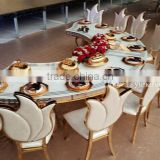 Maple Leaf-shaped backrest PU leather dining table and chairs modern luxury stainless steel