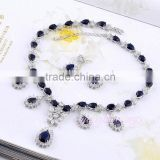Women jewelry chandelier dark blue stone 18k gold plated jewelry set
